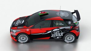 The Get Jerky' branded Hyundai i20 R5 that will be driven by Tom Cave in the Dayinsure Wales Rally GB.