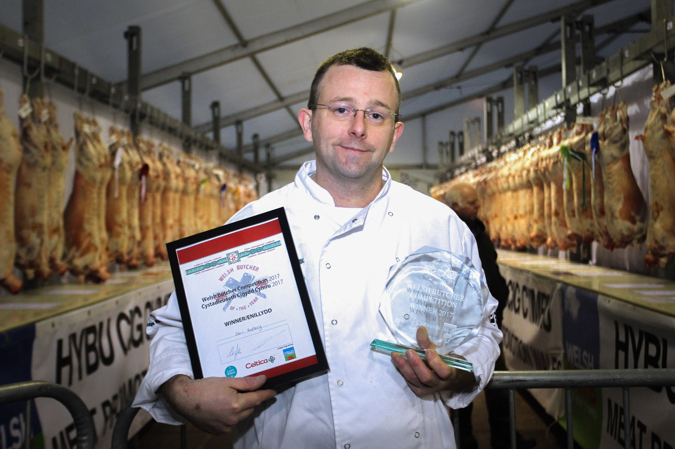 Welsh Butcher of the Year 2017 Daniel Allen-Raftery with his trophy and certificate.
