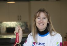 Pendine Park, Bryn Seiont Newydd's Musician in residence Nia Davies Williams who ran the Cardiff half Marathon.