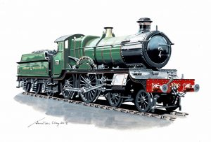An artist's impression of how the new locomotive No. 3840 County of Montgomery will look upon completion. Credit: Jonathan Clay, Churchward County Trust.