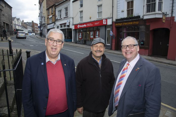 Police and crime Commissioner for North Wales Arfon Jones with Denbigh resident George Demir and Cllr Mark Young.