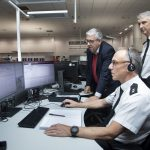 North Wales Police and Crime Commissioner Arfon Jones has paid a visit to North Wales Police's control centre at St Asaph, pictured are Inspector Merfyn Jones, Superintendent Neil Thomas and PCC Arfon Jones.