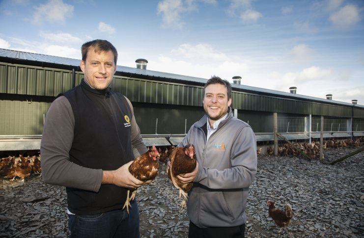 Pictured at Derwydd Farm, Llanfihangel Glyn Myfyr is farmer Llyr Jones with David Jones from Hafod Renewables.