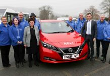 South Denbighshire Community Partnership Manager Margaret Sutherland, left, at the launch of the Edeyrnion Community Car Club in Corwen with their brand new Nissan Leaf, christened Neli, with Clwyd South AM Ken Skates and MP Susan Elan Jones.