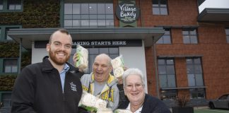 Leader crumpet competition; Pictured Tom Kellaway from Village Bakery with winners Nigel and Lynne Rielly