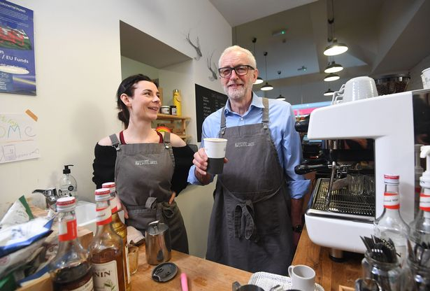 Earlier in the day, Mr Corbyn visited a coffee shop in Barry to mark Small Business Saturday (Image: PA)