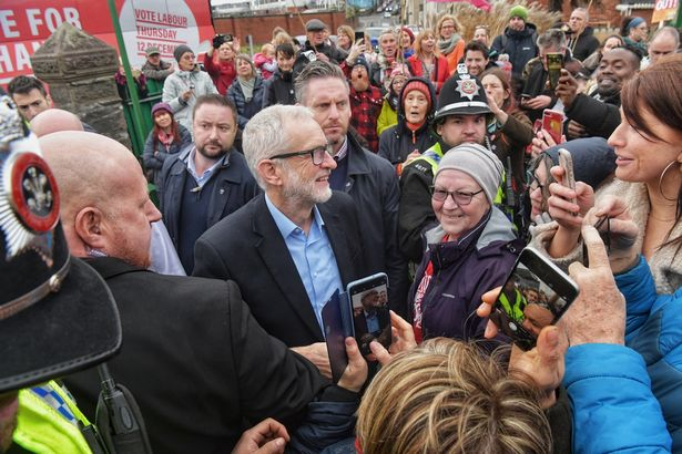 Crowds surrounding the Labour leader in Swansea (Image: Jonathan Myers)