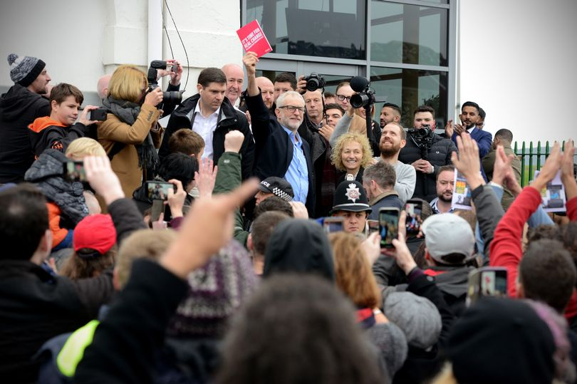 The Labour leader greets crowds outside the Patti Pavilion (Image: Adrian White)