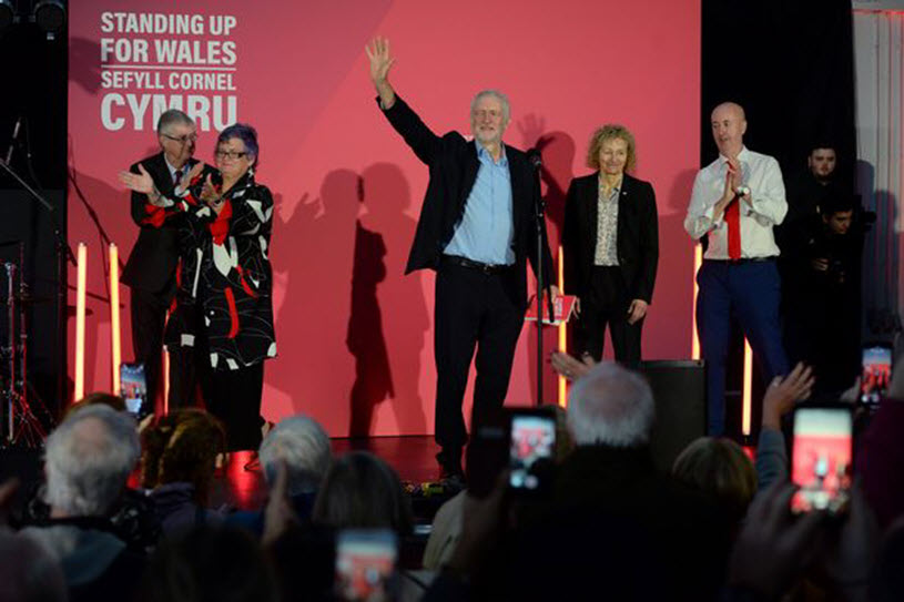 Jeremy Corbyn with Mark Drakeford, Carolyn Harris, Christina Rees and Geraint Davies (Image: Adrian White)