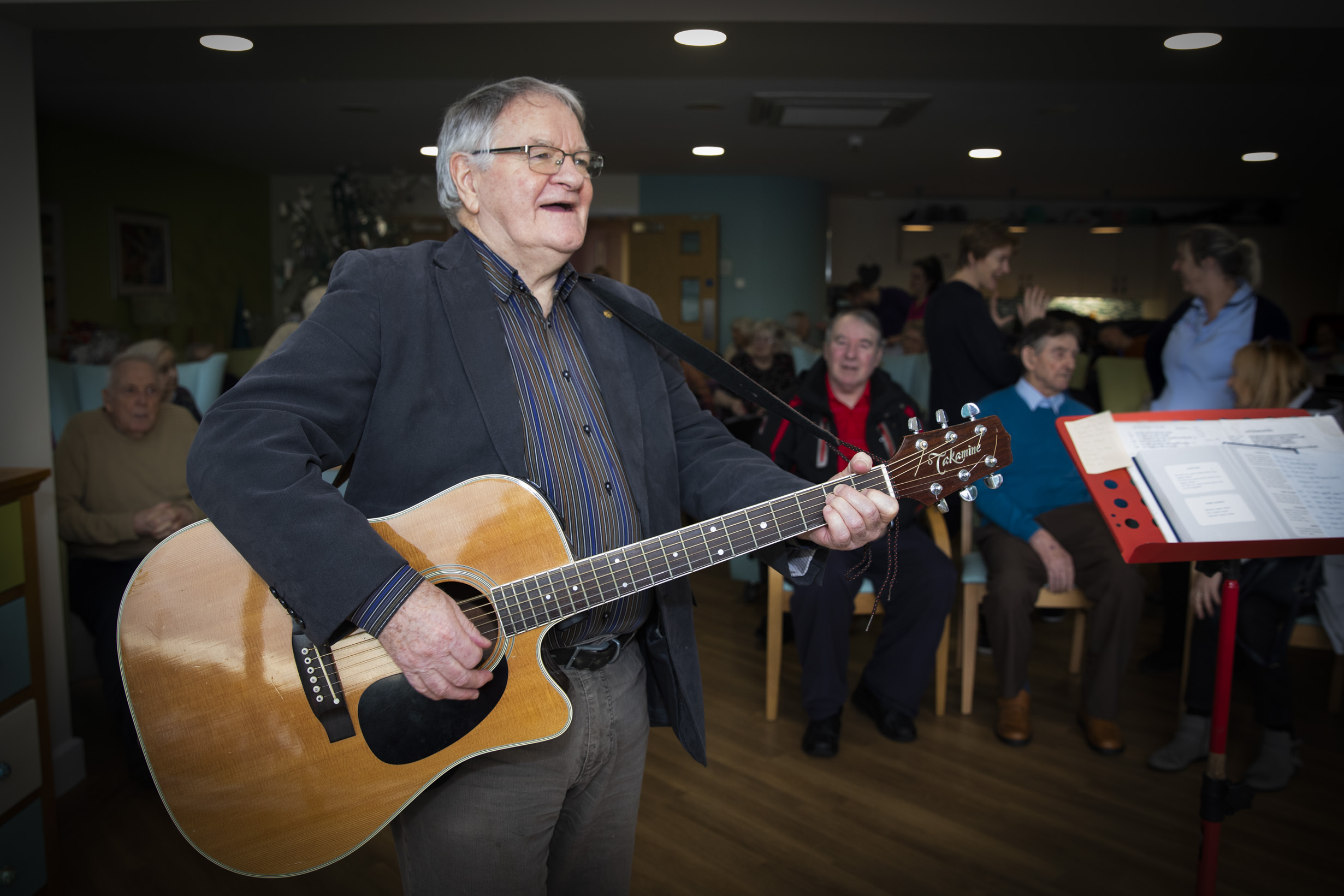Folk singer Dafydd Iwan who beat Stormzy to top the charts goes down a storm with care home residents